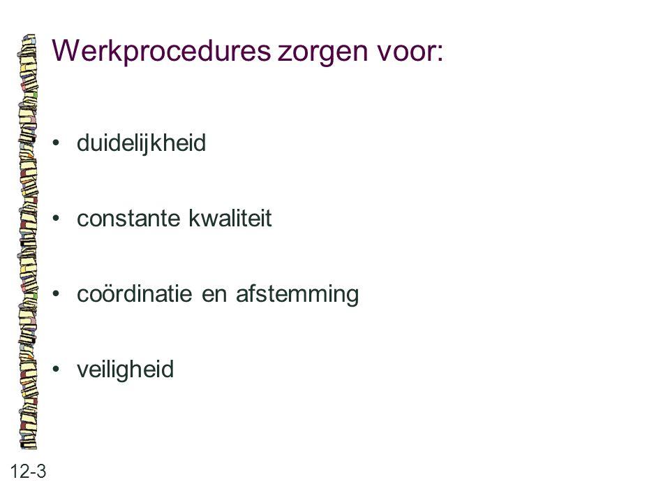 Procedures en regels: 12-4 •openstelling en sleutelbeheer •veiligheid •openbare en gesloten ruimten •afstemmen van werk op elkaar •taakverdeling