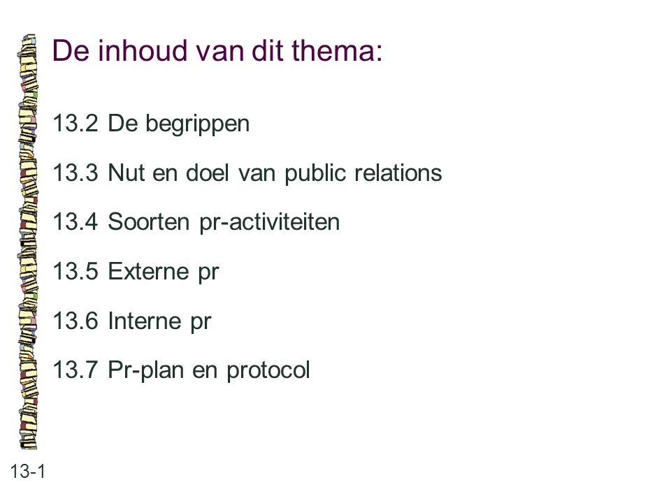 Pr-activiteiten: 13-2 •onderzoek van het imago •onderzoek van de trends en ontwikkelingen •beïnvloeden van de doelgroep