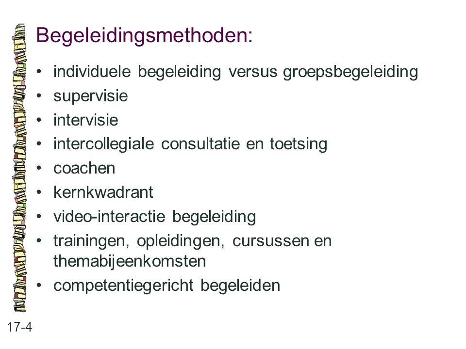 Coachingtechnieken: 17-5 •luisteren, doorvragen, invoelen en reflecteren •instrueren •mentoring •confronteren/spiegelen •kernkwadranten •video-interactie begeleiding