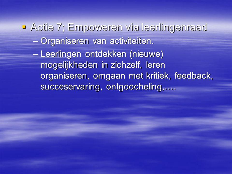  Actie 7; Empoweren via leerlingenraad –Organiseren van activiteiten. –Leerlingen ontdekken (nieuwe) mogelijkheden in zichzelf, leren organiseren, om