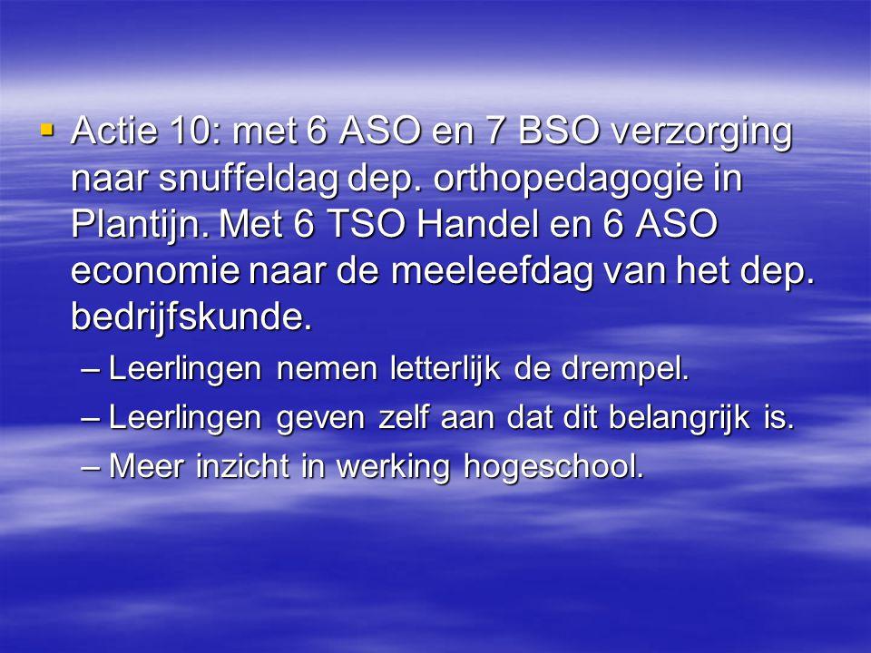  Actie 10: met 6 ASO en 7 BSO verzorging naar snuffeldag dep. orthopedagogie in Plantijn. Met 6 TSO Handel en 6 ASO economie naar de meeleefdag van h