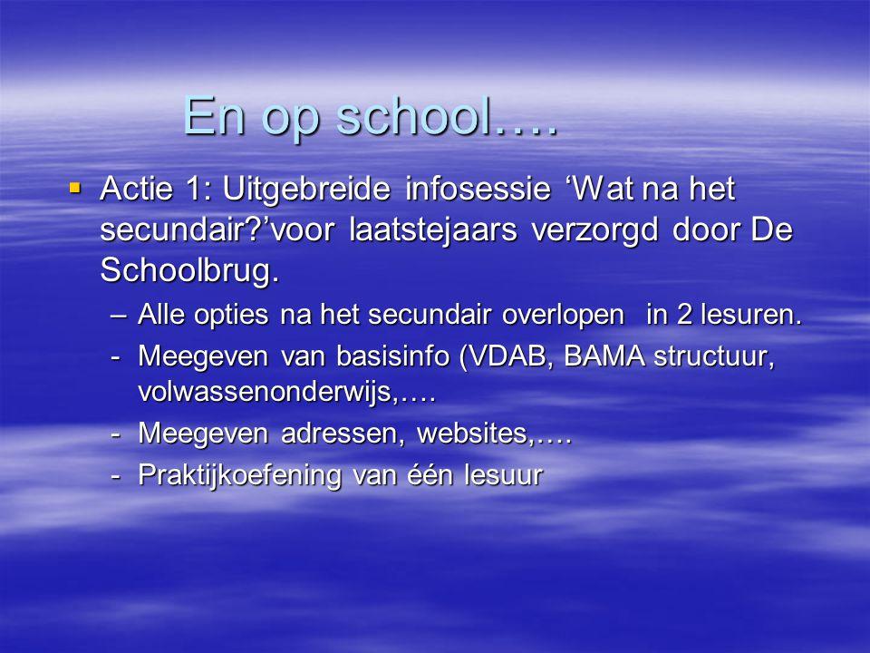 En op school….  Actie 1: Uitgebreide infosessie 'Wat na het secundair?'voor laatstejaars verzorgd door De Schoolbrug. –Alle opties na het secundair o