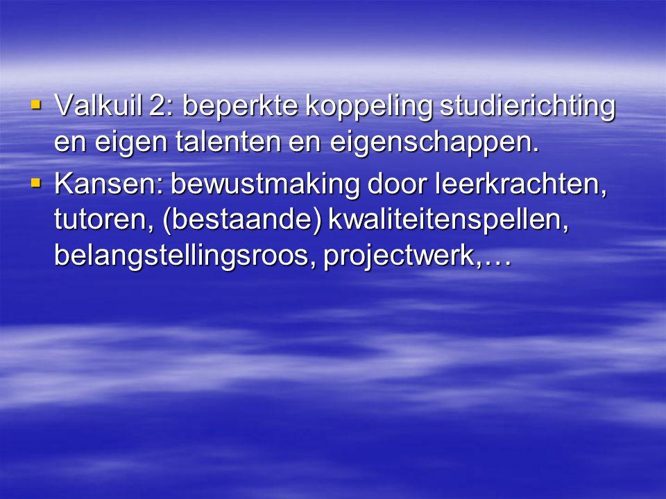  Valkuil 2: beperkte koppeling studierichting en eigen talenten en eigenschappen.  Kansen: bewustmaking door leerkrachten, tutoren, (bestaande) kwal