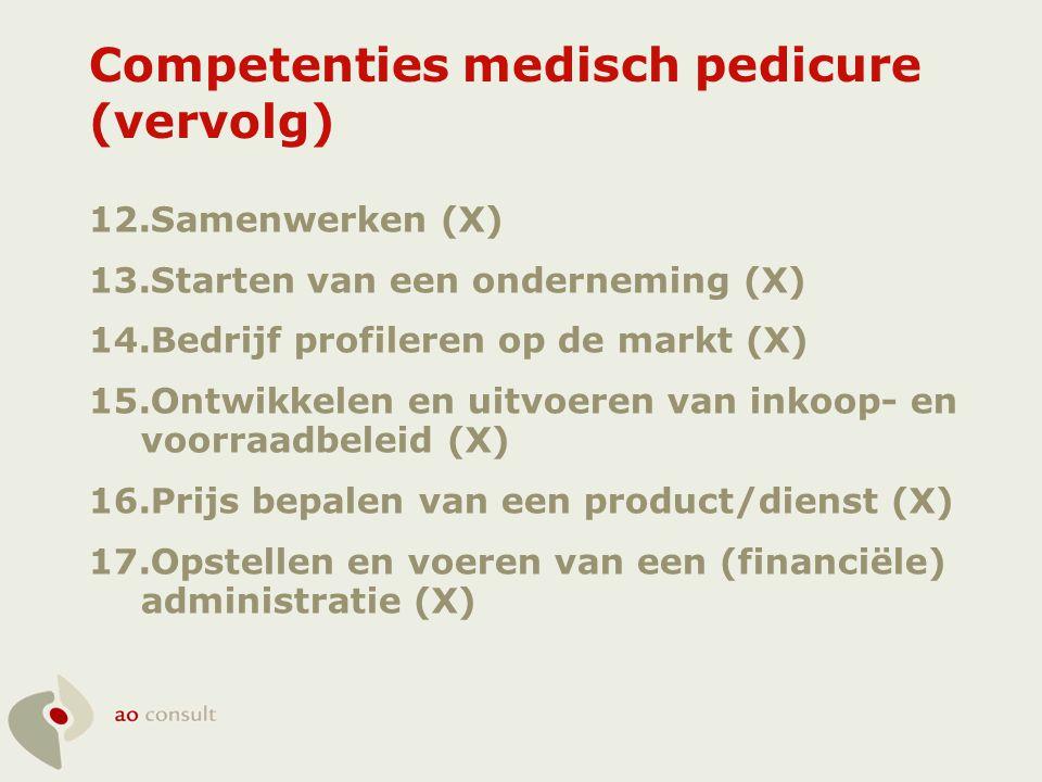 Competenties medisch pedicure (vervolg) 12.Samenwerken (X) 13.Starten van een onderneming (X) 14.Bedrijf profileren op de markt (X) 15.Ontwikkelen en