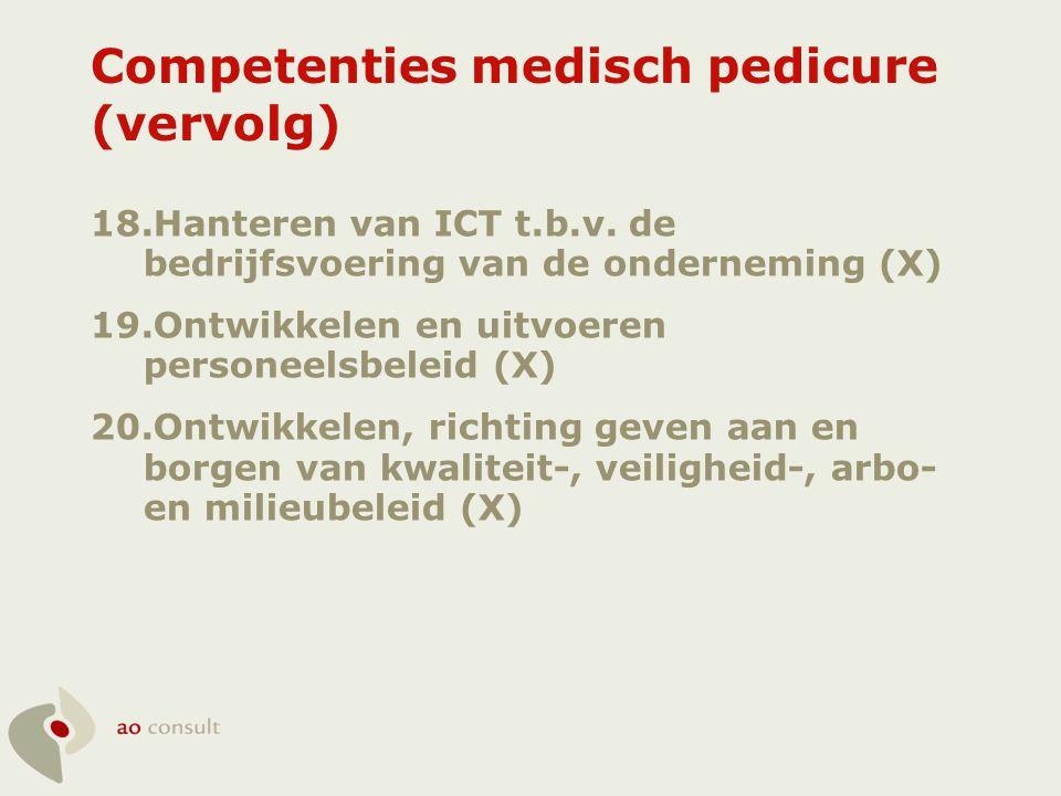 Competenties medisch pedicure (vervolg) 18.Hanteren van ICT t.b.v. de bedrijfsvoering van de onderneming (X) 19.Ontwikkelen en uitvoeren personeelsbel
