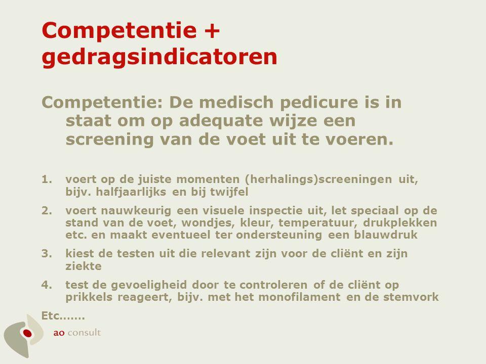 Competentie + gedragsindicatoren Competentie: De medisch pedicure is in staat om op adequate wijze een screening van de voet uit te voeren. 1.voert op