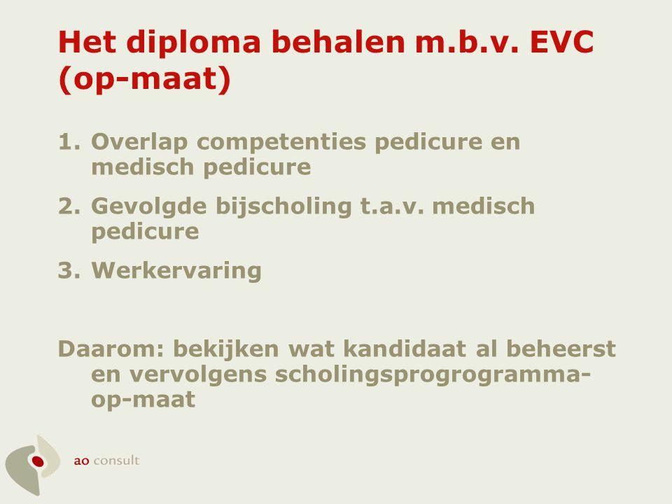 Het diploma behalen m.b.v. EVC (op-maat) 1.Overlap competenties pedicure en medisch pedicure 2.Gevolgde bijscholing t.a.v. medisch pedicure 3.Werkerva