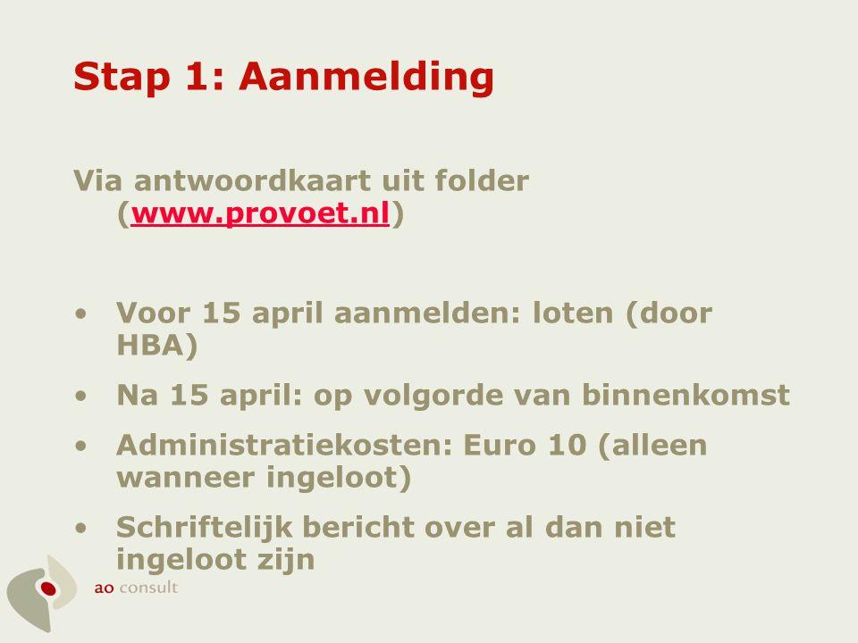 Stap 1: Aanmelding Via antwoordkaart uit folder (www.provoet.nl)www.provoet.nl •Voor 15 april aanmelden: loten (door HBA) •Na 15 april: op volgorde va