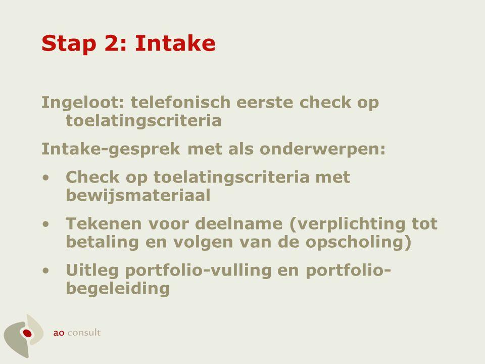 Stap 2: Intake Ingeloot: telefonisch eerste check op toelatingscriteria Intake-gesprek met als onderwerpen: •Check op toelatingscriteria met bewijsmat