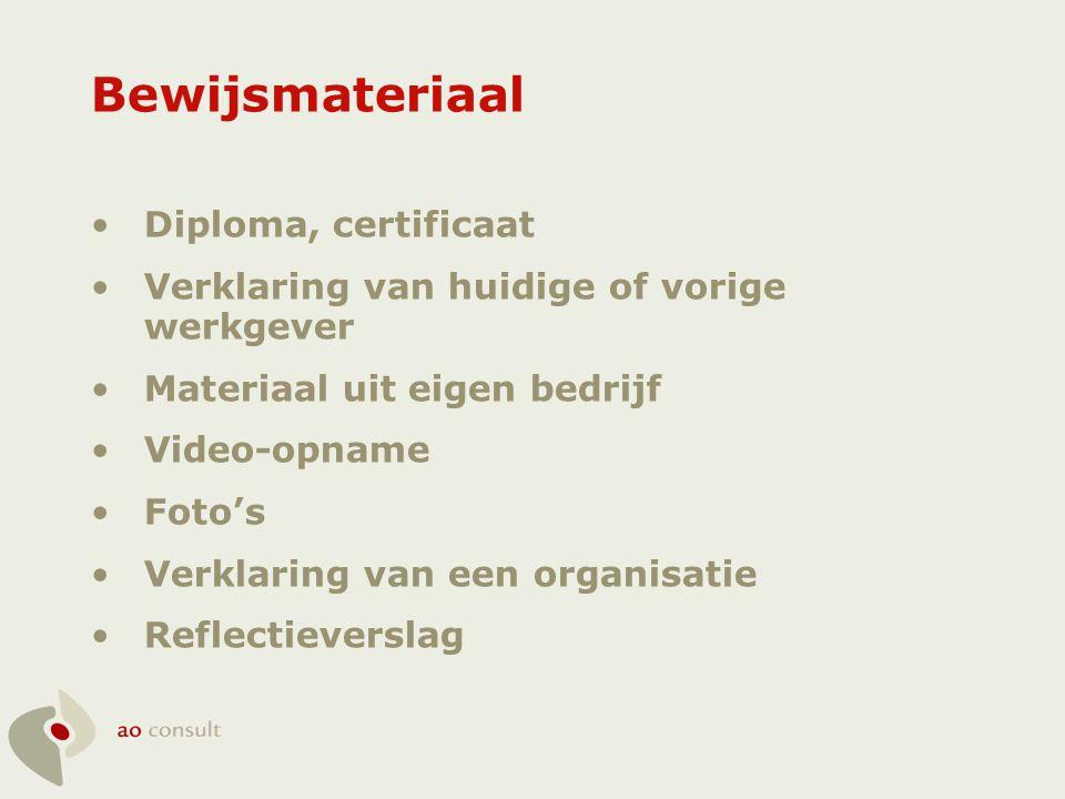Bewijsmateriaal •Diploma, certificaat •Verklaring van huidige of vorige werkgever •Materiaal uit eigen bedrijf •Video-opname •Foto's •Verklaring van e