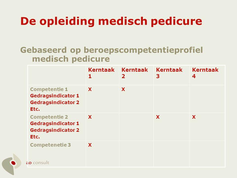 Kerntaken medisch pedicure 1.Uitvoeren van voetonderzoek (deels X) 2.Uitvoeren van een basisbehandeling 3.Uitvoeren van specialistische behandelingen (X) 4.Het leiden van een bedrijf (X)