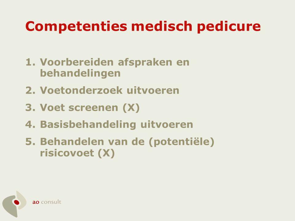 Competenties medisch pedicure 1.Voorbereiden afspraken en behandelingen 2.Voetonderzoek uitvoeren 3.Voet screenen (X) 4.Basisbehandeling uitvoeren 5.B