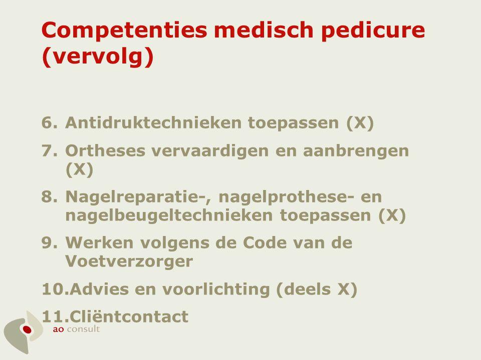 Competenties medisch pedicure (vervolg) 12.Samenwerken (X) 13.Starten van een onderneming (X) 14.Bedrijf profileren op de markt (X) 15.Ontwikkelen en uitvoeren van inkoop- en voorraadbeleid (X) 16.Prijs bepalen van een product/dienst (X) 17.Opstellen en voeren van een (financiële) administratie (X)