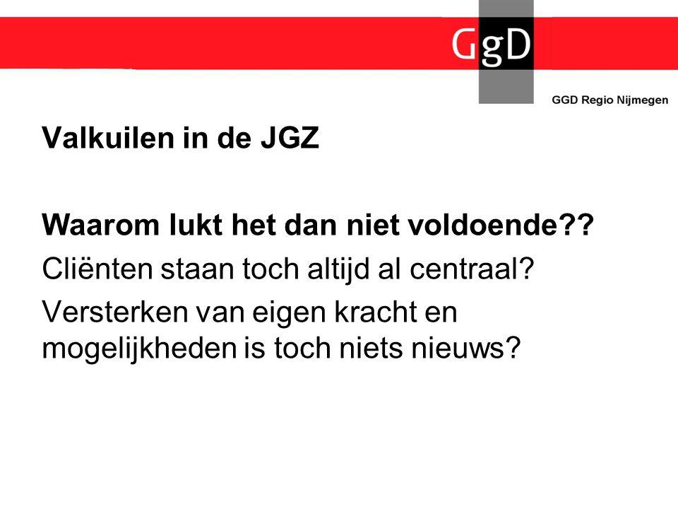 Valkuilen in de JGZ Waarom lukt het dan niet voldoende?? Cliënten staan toch altijd al centraal? Versterken van eigen kracht en mogelijkheden is toch