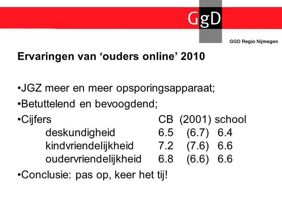 Ervaringen van 'ouders online' 2010 •JGZ meer en meer opsporingsapparaat; •Betuttelend en bevoogdend; •Cijfers CB (2001)school deskundigheid6.5(6.7) 6
