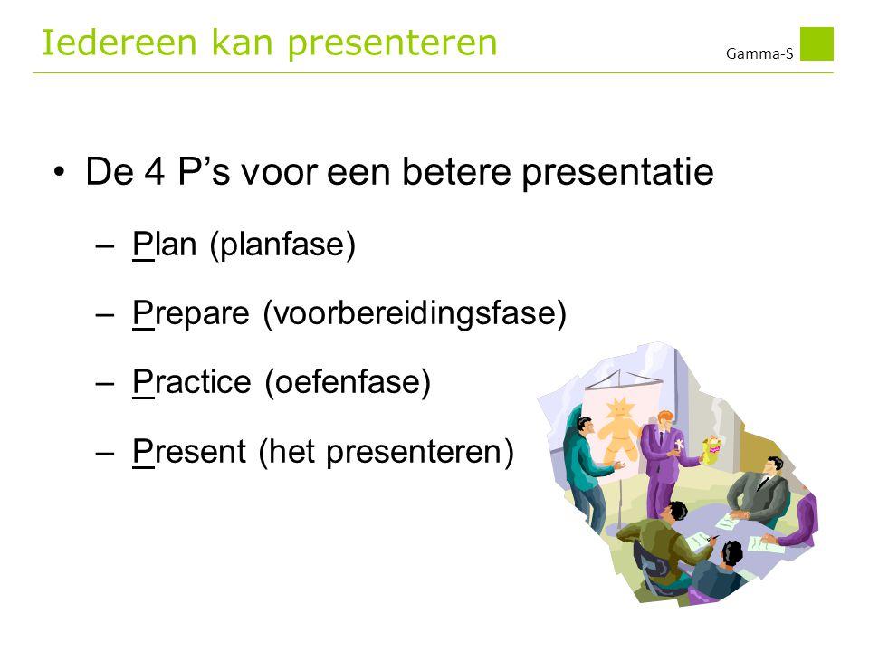 Gamma-S Iedereen kan presenteren •De 4 P's voor een betere presentatie – Plan (planfase) – Prepare (voorbereidingsfase) – Practice (oefenfase) – Prese