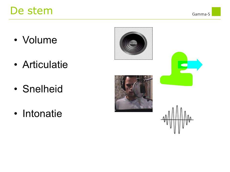 Gamma-S •Volume •Articulatie •Snelheid •Intonatie De stem