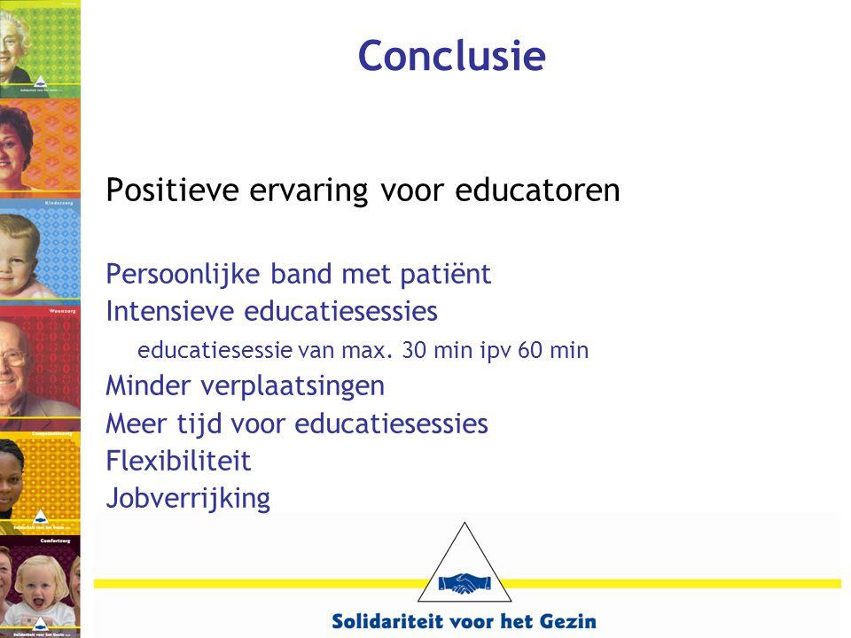 Conclusie Positieve ervaring voor educatoren Persoonlijke band met patiënt Intensieve educatiesessies educatiesessie van max. 30 min ipv 60 min Minder
