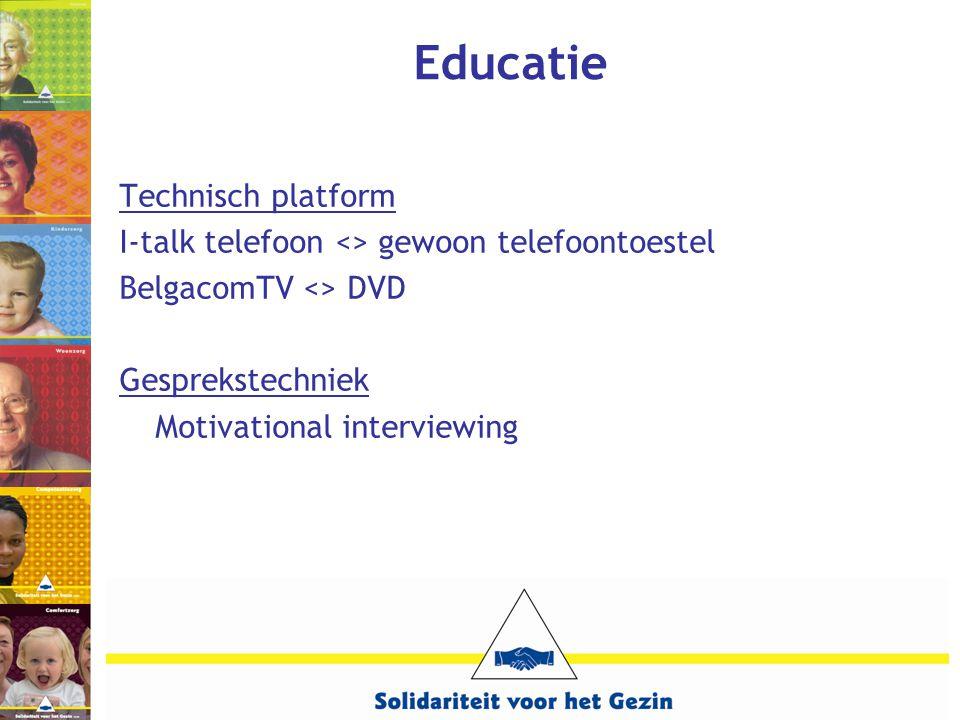 Educatie Technisch platform I-talk telefoon <> gewoon telefoontoestel BelgacomTV <> DVD Gesprekstechniek Motivational interviewing