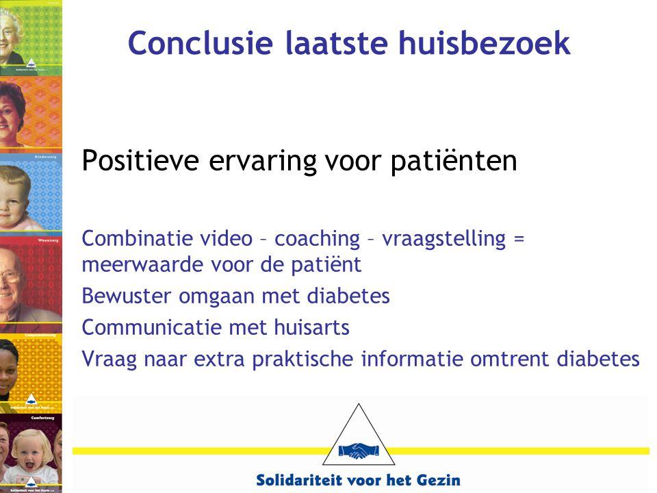 Conclusie laatste huisbezoek Positieve ervaring voor patiënten Combinatie video – coaching – vraagstelling = meerwaarde voor de patiënt Bewuster omgaa