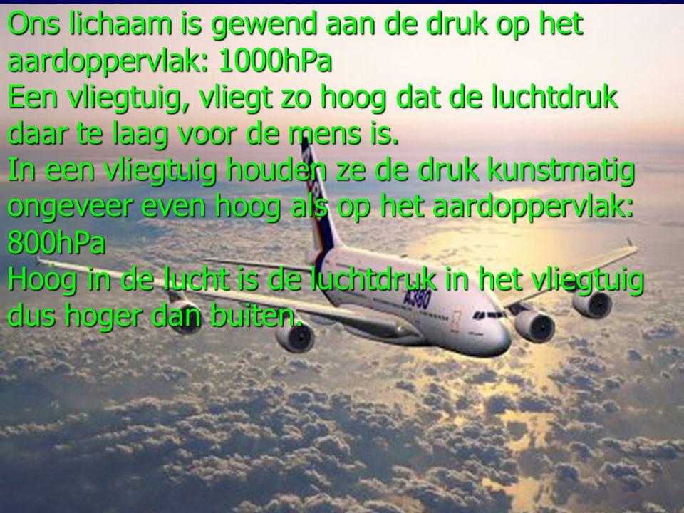 Ons lichaam is gewend aan de druk op het aardoppervlak: 1000hPa Een vliegtuig, vliegt zo hoog dat de luchtdruk daar te laag voor de mens is.