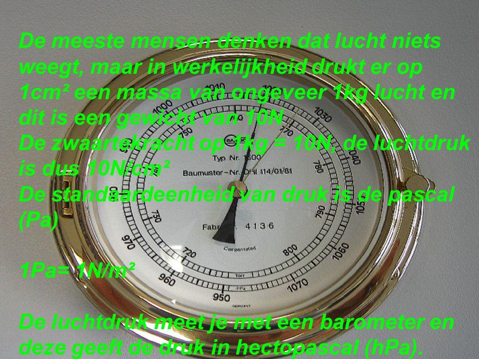 De meeste mensen denken dat lucht niets weegt, maar in werkelijkheid drukt er op 1cm² een massa van ongeveer 1kg lucht en dit is een gewicht van 10N De zwaartekracht op 1kg = 10N, de luchtdruk is dus 10N/cm² De standaardeenheid van druk is de pascal (Pa) 1Pa= 1N/m² De luchtdruk meet je met een barometer en deze geeft de druk in hectopascal (hPa).