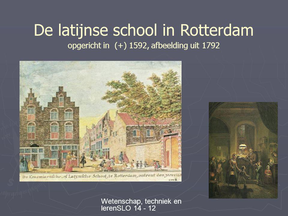 Wetenschap, techniek en lerenSLO 14 - 12 De latijnse school in Rotterdam opgericht in (+) 1592, afbeelding uit 1792