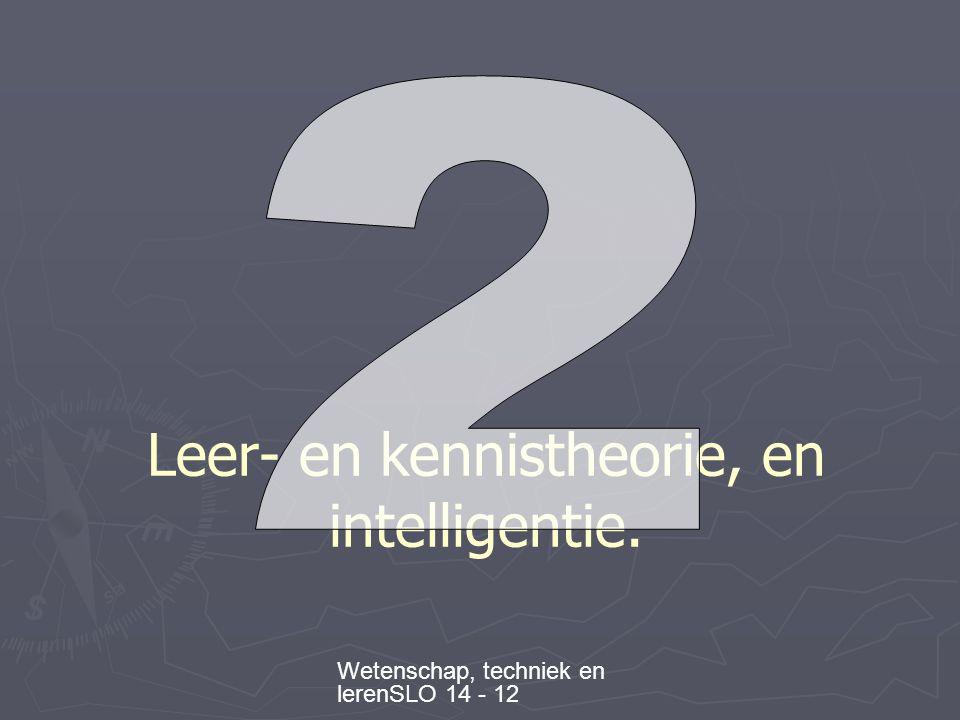 Wetenschap, techniek en lerenSLO 14 - 12 Leer- en kennistheorie, en intelligentie.