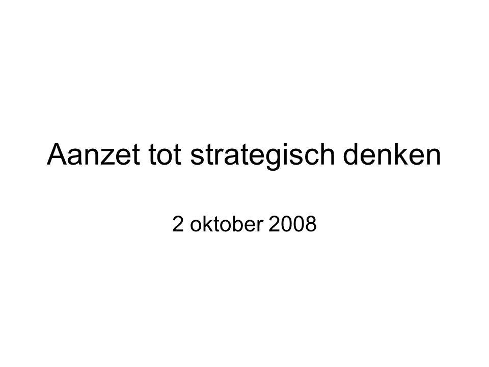 Aanzet tot strategisch denken 2 oktober 2008