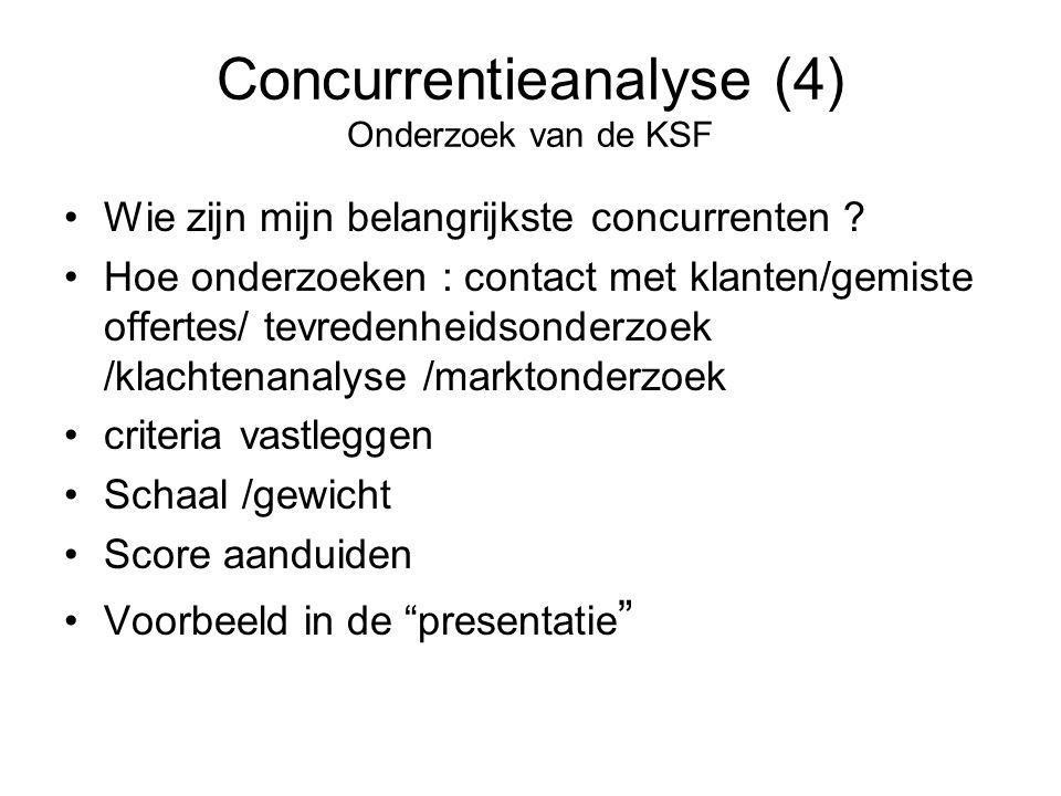 Concurrentieanalyse (4) Onderzoek van de KSF •Wie zijn mijn belangrijkste concurrenten ? •Hoe onderzoeken : contact met klanten/gemiste offertes/ tevr