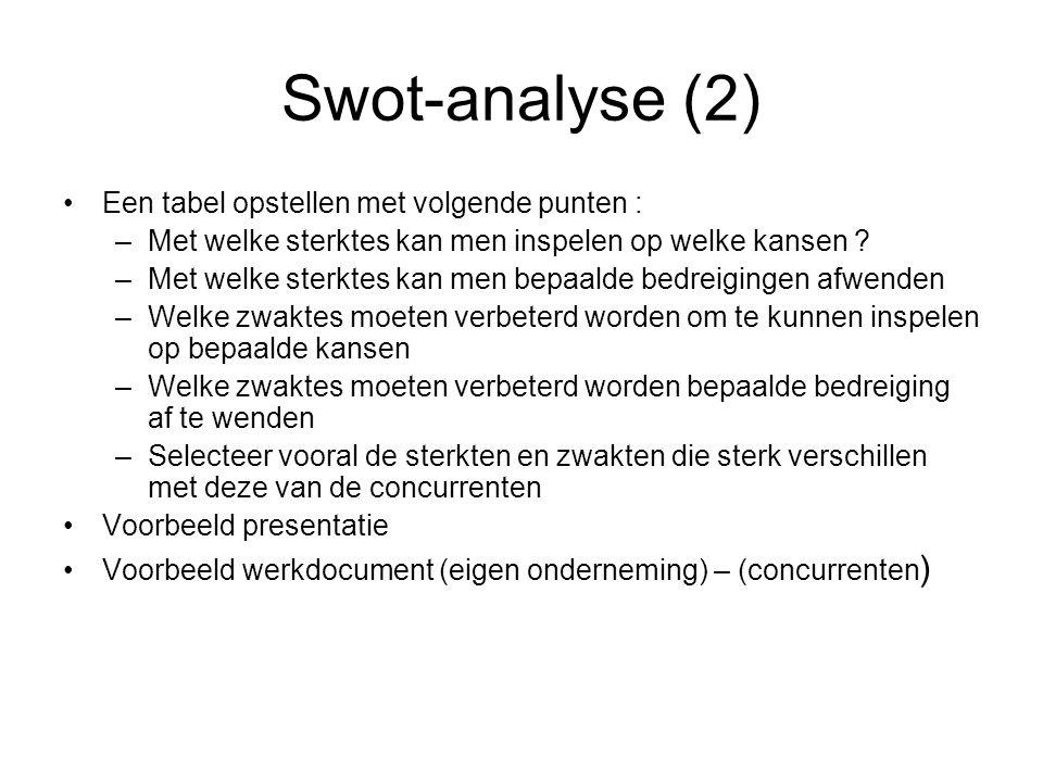 Swot-analyse (2) •Een tabel opstellen met volgende punten : –Met welke sterktes kan men inspelen op welke kansen ? –Met welke sterktes kan men bepaald