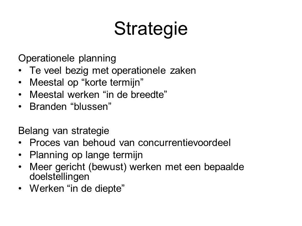 """Strategie Operationele planning •Te veel bezig met operationele zaken •Meestal op """"korte termijn"""" •Meestal werken """"in de breedte"""" •Branden """"blussen"""" B"""