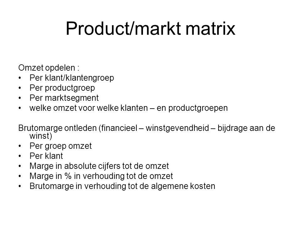 Product/markt matrix Omzet opdelen : •Per klant/klantengroep •Per productgroep •Per marktsegment •welke omzet voor welke klanten – en productgroepen B