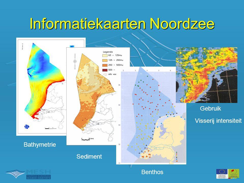 Afgeleide kaarten •Shear stress •Marien landscapes –Gemodelleerde distributie van zeebodem 'landscapes' op basis van geophysische data •Ecotopen •Natuurwaarde kaart •Gevoeligheidskaarten •Geluidskaarten •Ecotopen Informatiekaarten Noordzee