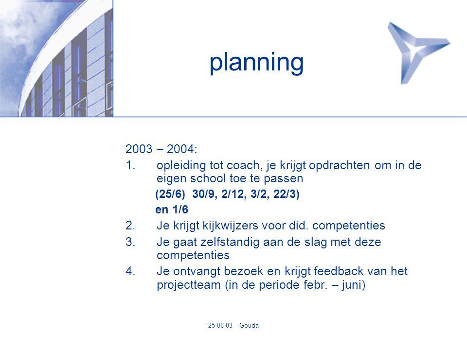 25-06-03 -Gouda planning 2003 – 2004: 1.opleiding tot coach, je krijgt opdrachten om in de eigen school toe te passen (25/6) 30/9, 2/12, 3/2, 22/3) en 1/6 2.Je krijgt kijkwijzers voor did.
