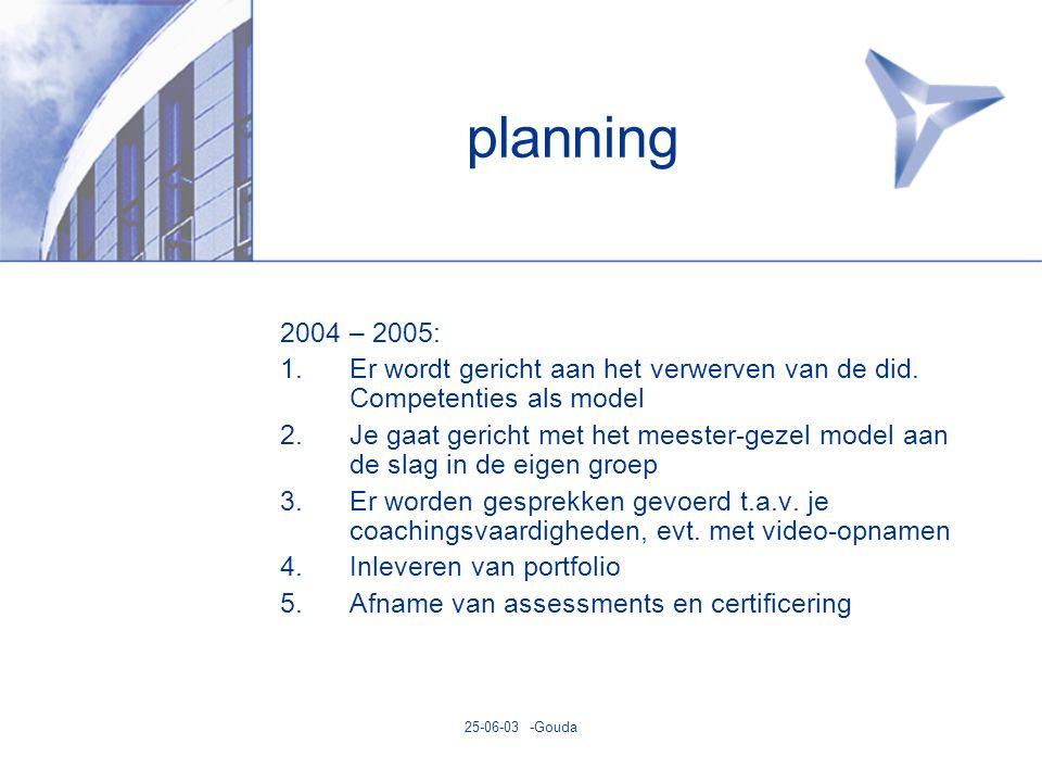 25-06-03 -Gouda planning 2004 – 2005: 1.Er wordt gericht aan het verwerven van de did.