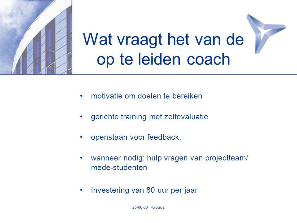 25-06-03 -Gouda Wat vraagt het van de op te leiden coach •motivatie om doelen te bereiken •gerichte training met zelfevaluatie •openstaan voor feedback, •wanneer nodig: hulp vragen van projectteam/ mede-studenten •Investering van 80 uur per jaar