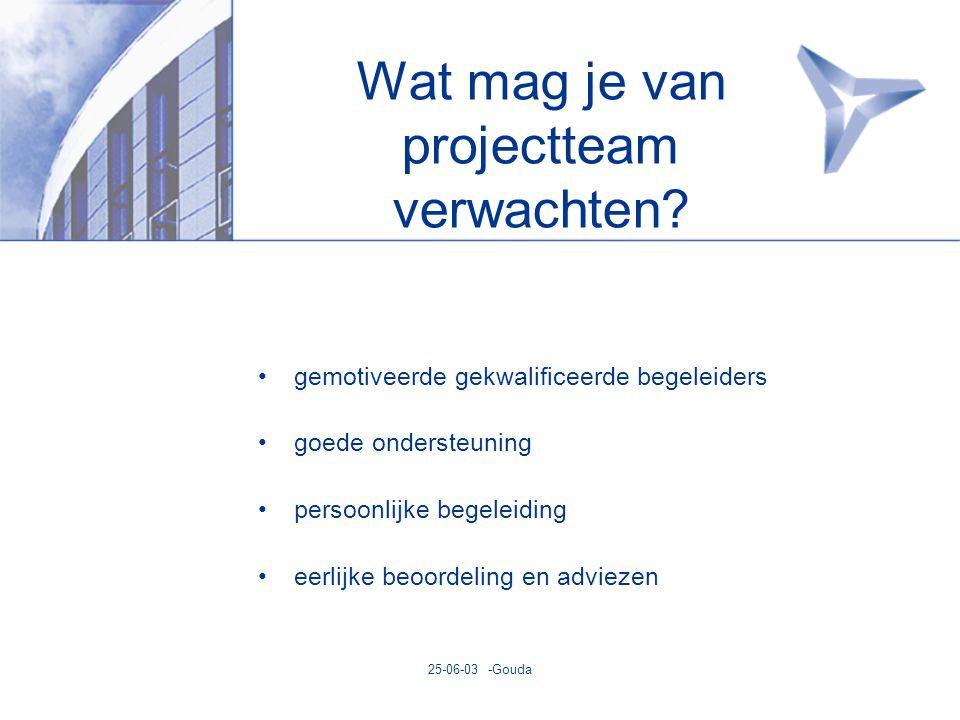 25-06-03 -Gouda Wat mag je van projectteam verwachten.