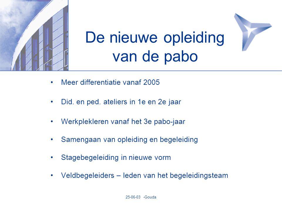 25-06-03 -Gouda De nieuwe opleiding van de pabo •Meer differentiatie vanaf 2005 •Did.