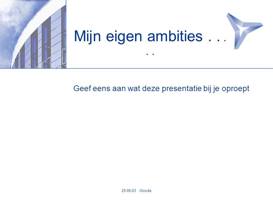 25-06-03 -Gouda Mijn eigen ambities..... Geef eens aan wat deze presentatie bij je oproept