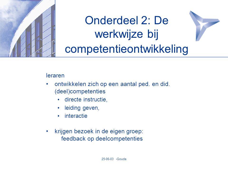 25-06-03 -Gouda Onderdeel 2: De werkwijze bij competentieontwikkeling leraren •ontwikkelen zich op een aantal ped.