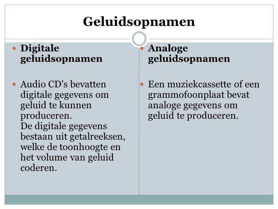 Geluidsopnamen  Digitale geluidsopnamen  Audio CD's bevatten digitale gegevens om geluid te kunnen produceren. De digitale gegevens bestaan uit geta