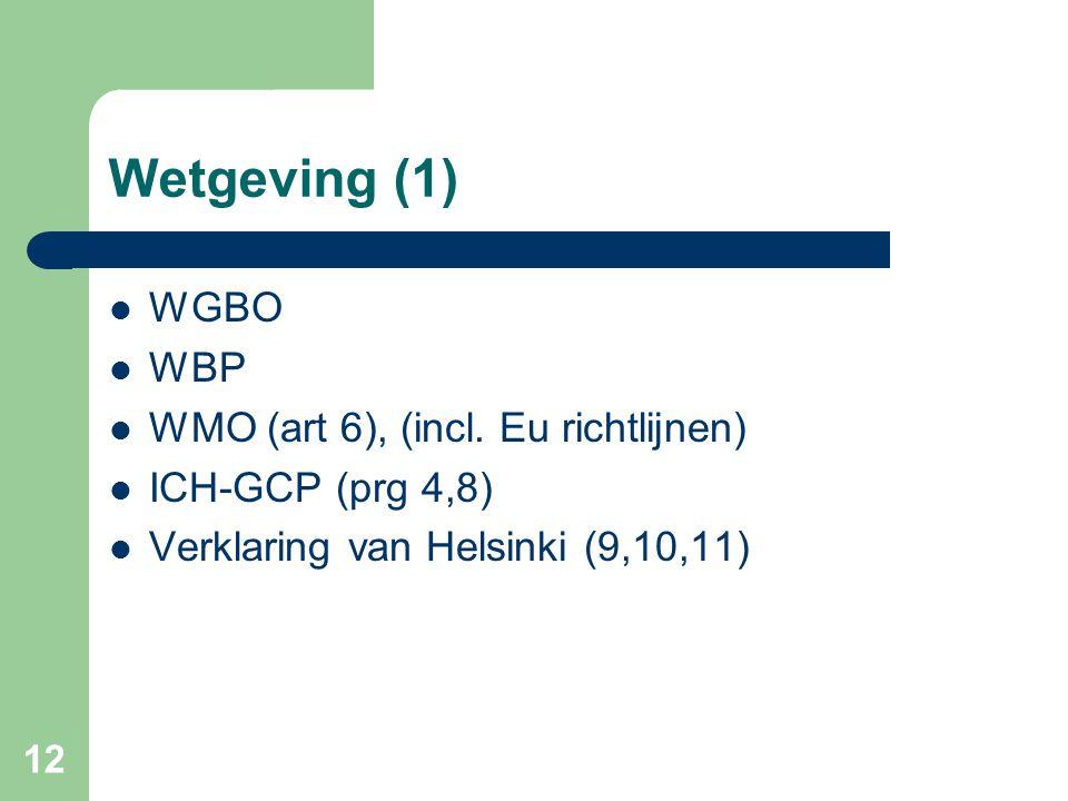 12 Wetgeving (1)  WGBO  WBP  WMO (art 6), (incl. Eu richtlijnen)  ICH-GCP (prg 4,8)  Verklaring van Helsinki (9,10,11)