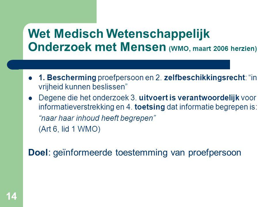 """14 Wet Medisch Wetenschappelijk Onderzoek met Mensen (WMO, maart 2006 herzien)  1. Bescherming proefpersoon en 2. zelfbeschikkingsrecht: """"in vrijheid"""