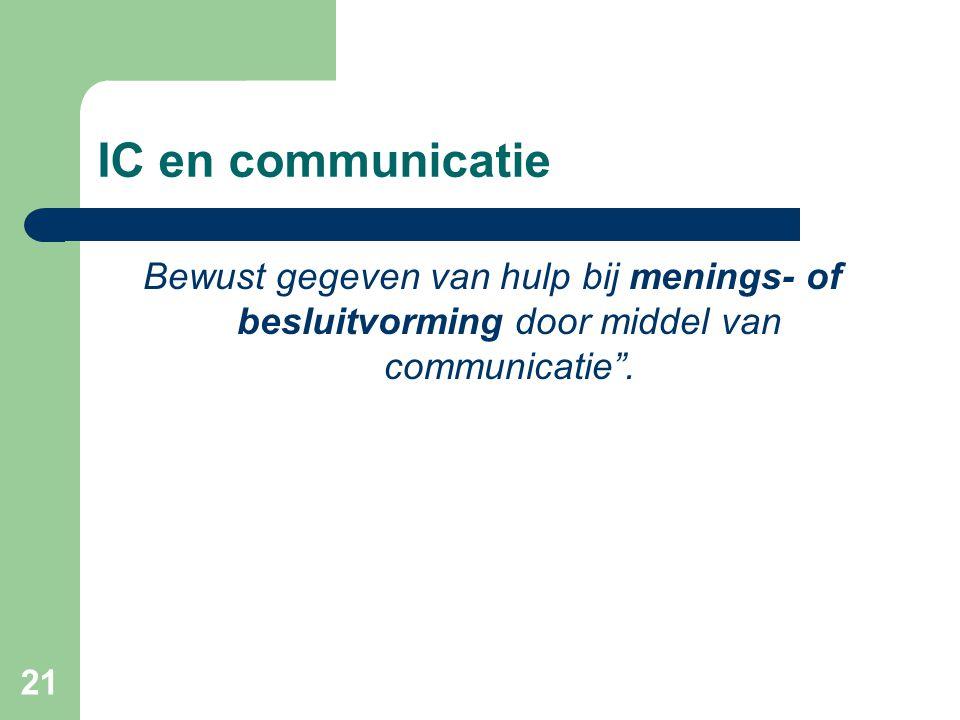 """21 IC en communicatie Bewust gegeven van hulp bij menings- of besluitvorming door middel van communicatie""""."""