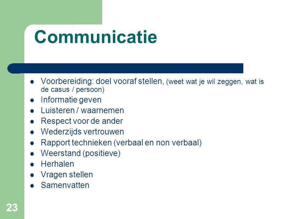 23 Communicatie  Voorbereiding: doel vooraf stellen, (weet wat je wil zeggen, wat is de casus / persoon)  Informatie geven  Luisteren / waarnemen 