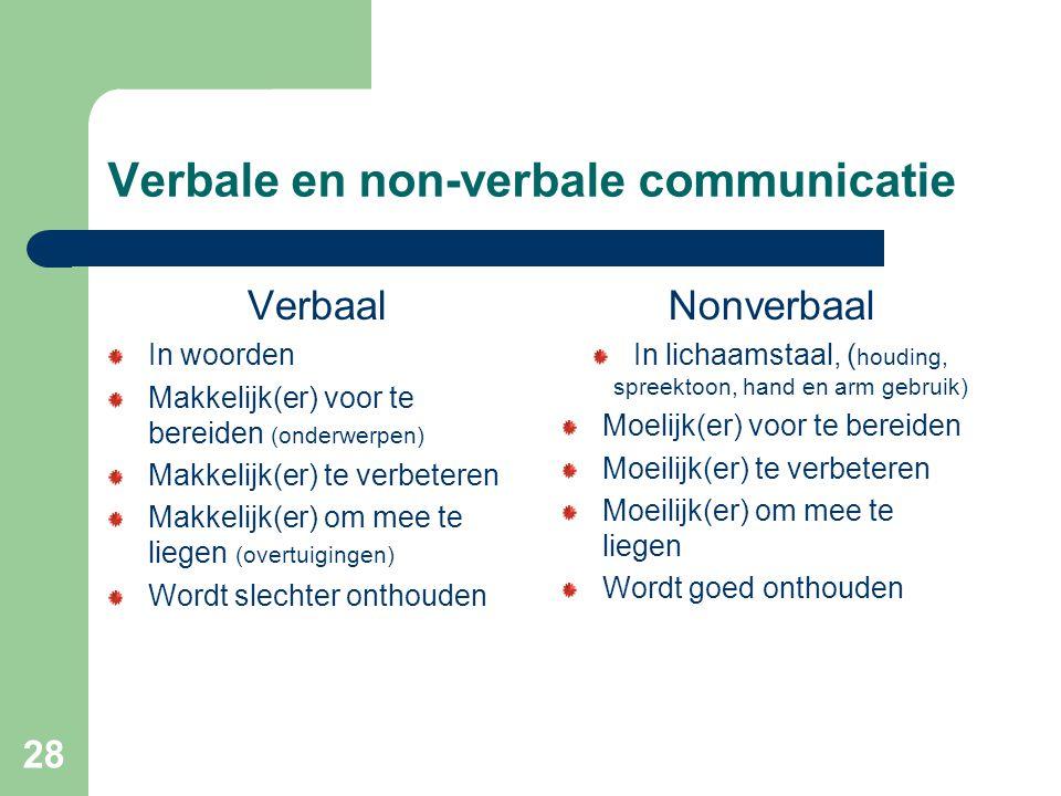 28 Verbale en non-verbale communicatie Verbaal In woorden Makkelijk(er) voor te bereiden (onderwerpen) Makkelijk(er) te verbeteren Makkelijk(er) om mee te liegen (overtuigingen) Wordt slechter onthouden Nonverbaal In lichaamstaal, ( houding, spreektoon, hand en arm gebruik) Moelijk(er) voor te bereiden Moeilijk(er) te verbeteren Moeilijk(er) om mee te liegen Wordt goed onthouden