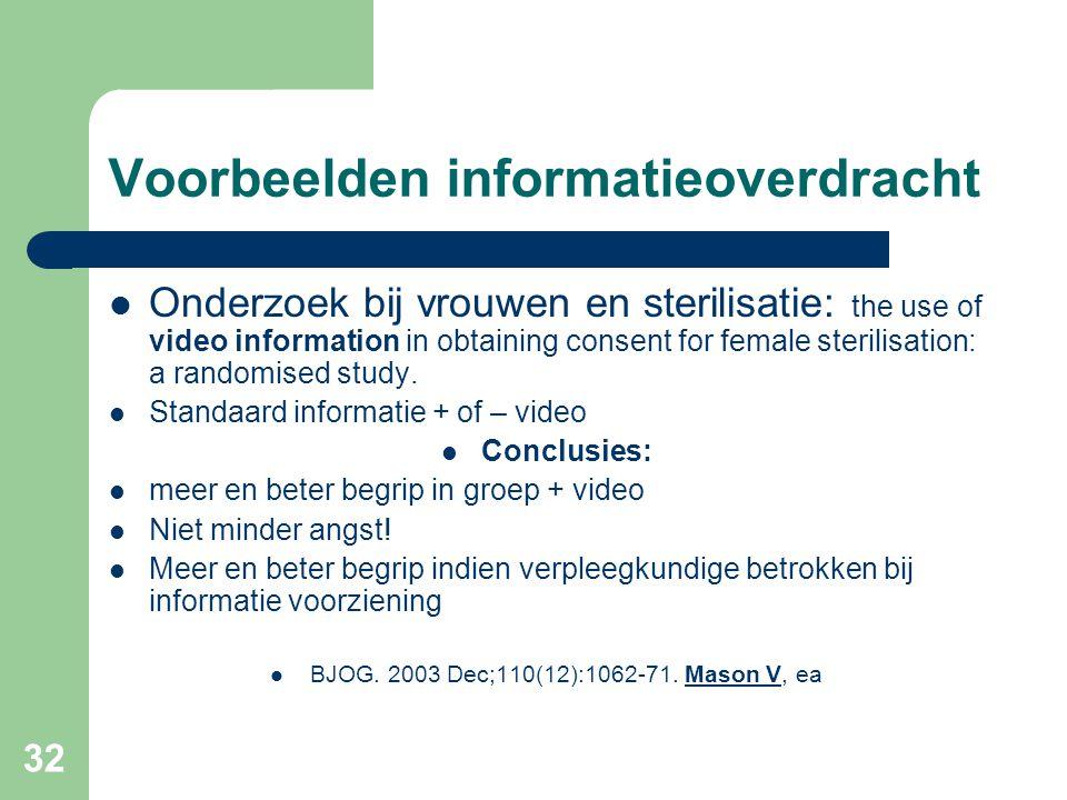 32 Voorbeelden informatieoverdracht  Onderzoek bij vrouwen en sterilisatie: the use of video information in obtaining consent for female sterilisation: a randomised study.