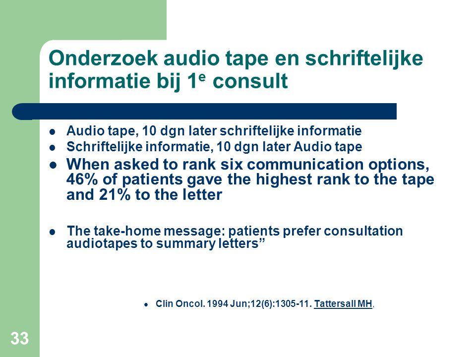 33 Onderzoek audio tape en schriftelijke informatie bij 1 e consult  Audio tape, 10 dgn later schriftelijke informatie  Schriftelijke informatie, 10