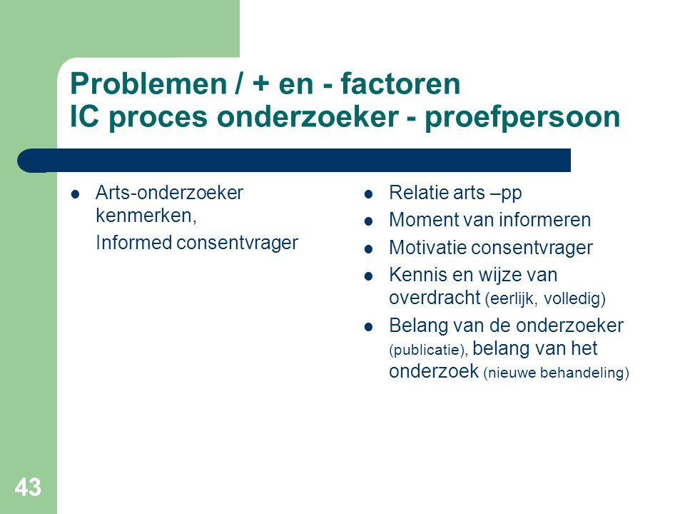 43 Problemen / + en - factoren IC proces onderzoeker - proefpersoon  Arts-onderzoeker kenmerken, Informed consentvrager  Relatie arts –pp  Moment v